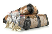 Packages of narcotics isolated on white — Stock Photo