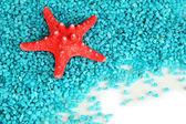 Zeester op blauwe kristallen van zee zout achtergrond — Stockfoto