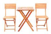 Dřevěný stůl s židlemi, izolované na bílém — Stock fotografie
