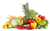 Assortment of fresh fruits and vegetables, isolated on white — Stock Photo