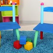 Small and colorful chairs for little kids — Stock Photo