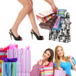 Girl friends with shopping collage — Stockfoto