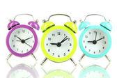Retro alarm clocks, isolated on white — Stock Photo