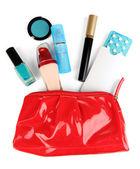 гормональные таблетки в макияж сумка изолирован на белом — Стоковое фото