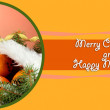 Christmas composition with oranges and fir tree in Santa Claus hat — Stock Photo #28647457