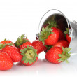 Stock Photo: Fresh strawberry in pail isolated on white
