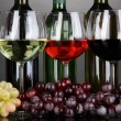 Assortment of wine in glasses and bottles on grey background — Foto de stock #28647989