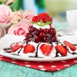Stock Photo: Tasty jelly dessert with fresh berries, on bright background