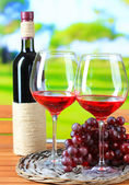 Glasses of wine on braided tray on wooden table on nature background — Stock Photo