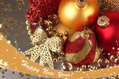 Christmas decoration on gray background — Stock Photo