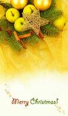 黄金の布の上の美しいクリスマスの組成 — ストック写真