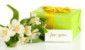 Boîte-cadeau et fleurs isolés sur blanc — Photo