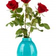 Stock Photo: Beautiful roses in vase, isolated on white
