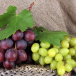 Stock Photo: Ripe delicious grapes on table close-up