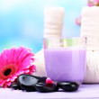 Herbal compress balls for spa treatment, spa stones, gerbera and candle — Stock Photo