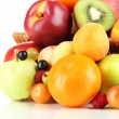 Stock Photo: Assortment of juicy fruits, isolated on white