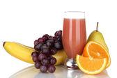 Glass of fresh juice isolated on white — Stock Photo