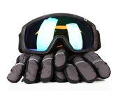 Winter sport brillen en handschoenen, geïsoleerd op wit — Stockfoto