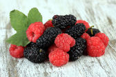 Ripe berries on table close-up — Stock Photo