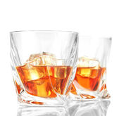 Two glasses of scotch whiskey, isolated on white — Stock Photo