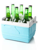Bottles of beer with ice cubes in mini refrigerator, isolated on white — Stock Photo