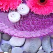 Beautiful gerbera flowers, stones and candles on water — Stok fotoğraf