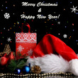 New Year composition of New Year's decor and gifts on  lights background — Photo