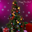 Decorated Christmas tree with gifts on purple background — Stockfoto