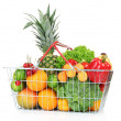 Assortment of fresh fruits and vegetables in metal basket, isolated on white — Foto de Stock