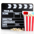 Movie clapperboard popcorn and 3D glasses, isolated on white — Stock Photo