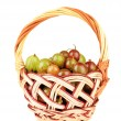 Stock Photo: Fresh gooseberries in wicker basket isolated on white