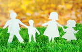 Paper people on green grass on bright background — Stock Photo