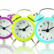 Stock Photo: Retro alarm clocks, isolated on white