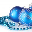 Blue christmas balls isolated on white background — Stock Photo