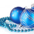 Blue christmas balls isolated on white background — Stock Photo