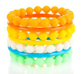 Colorful fashion bracelets isolated on white — Stock Photo
