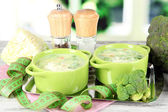 Cabbage soup in plates on metal tray on napkin on wooden table on window background — Stock Photo