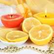 Romantic lighted candles close up — Stock Photo #28802449