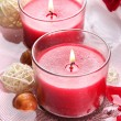 Beautiful red candles with flower petals in water — Stock Photo #28802455
