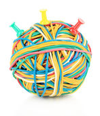 Colorful rubber bands isolated on white — Stock Photo