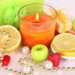 Romantic lighted candles close up — Stock Photo #28833653
