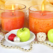 Romantic lighted candles close up — Stock Photo #28833783