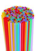 Many straws close-up isolated on white — Stock Photo