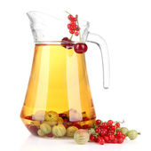 Glass pitcher of compote with different summer berries isolated on white — Stock Photo