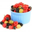 Stock Photo: Ripe berries in bowl isolated on white