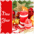 Red candle with Christmas decoration — Stock Photo