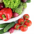 Fresh vegetables in white wicker basket close up — Stock Photo #28917661