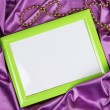 Empty frame on beautiful silk background — Stock Photo