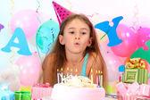 Little beautiful girl celebrate her birthday — Stock Photo