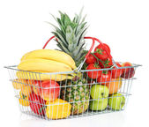 Assortment of fresh fruits and vegetables in metal basket, isolated on white — Foto Stock